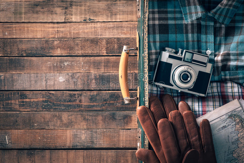 Vintage traveler packing royalty free stock photo