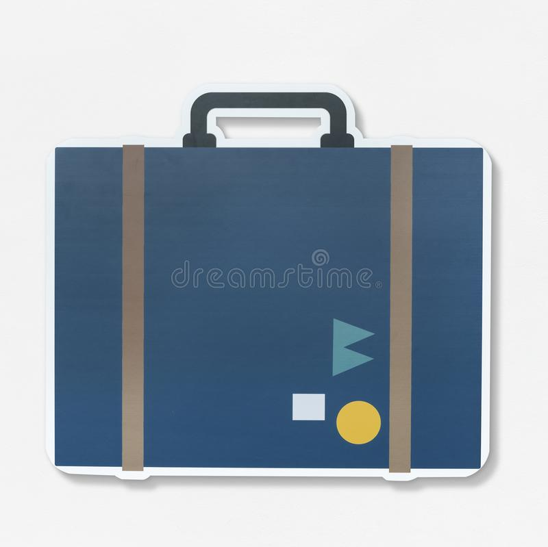 Vintage traveling suitcase illustration icon stock images