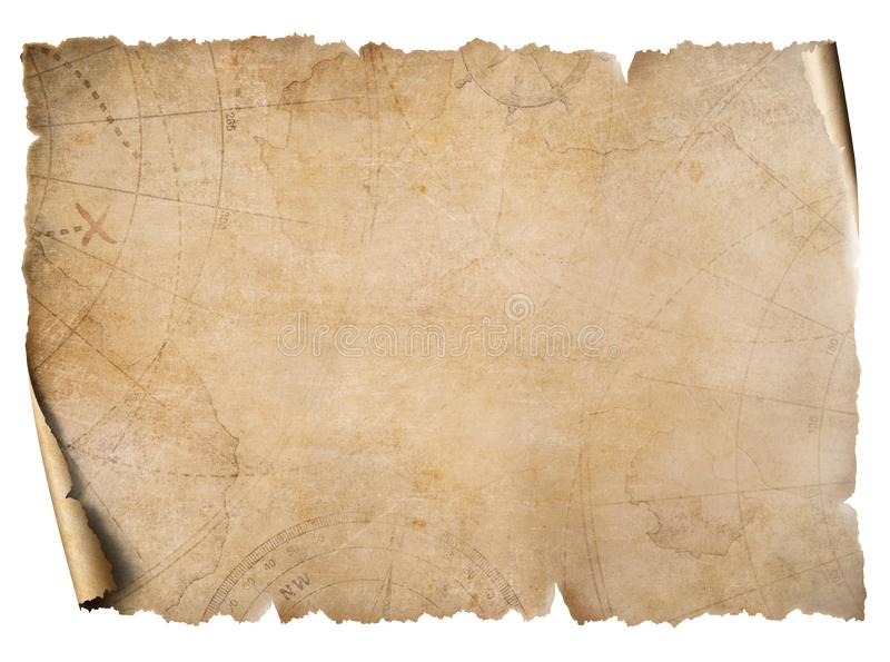 Vintage treasure map parchment isolated on white stock image