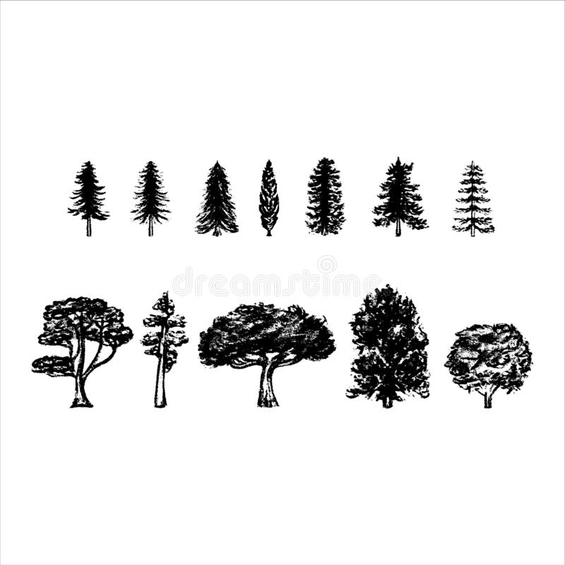 Free Vintage Tree Silhouettes On White Background. Vector Illustration. Royalty Free Stock Photography - 156731337