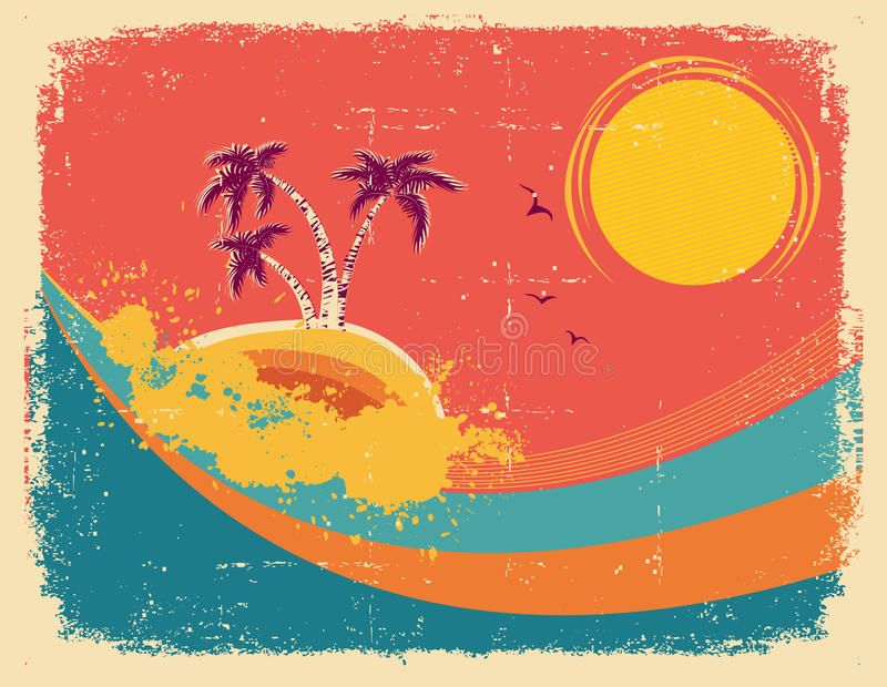 Download Vintage Tropical Card On Old Paper Texture. Stock Vector - Image: 26385966