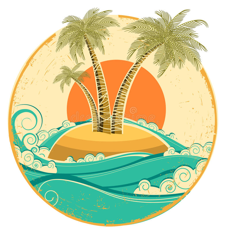 Vintage tropical island vector symbol seascape wit royalty for House music symbol