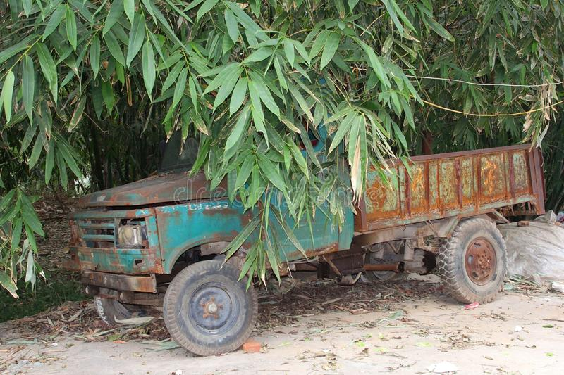 Rustic grungy truck in the bamboo jungle in Daxu, China. Vintage rusted truck between the bamboo in the jungle in Daxu, an ancient characteristic village in royalty free stock photo