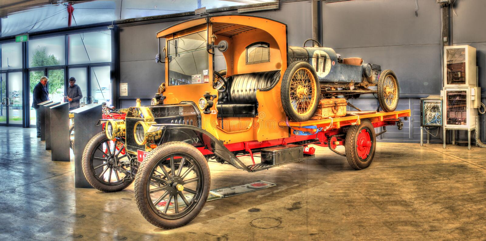 Vintage truck and race car royalty free stock images