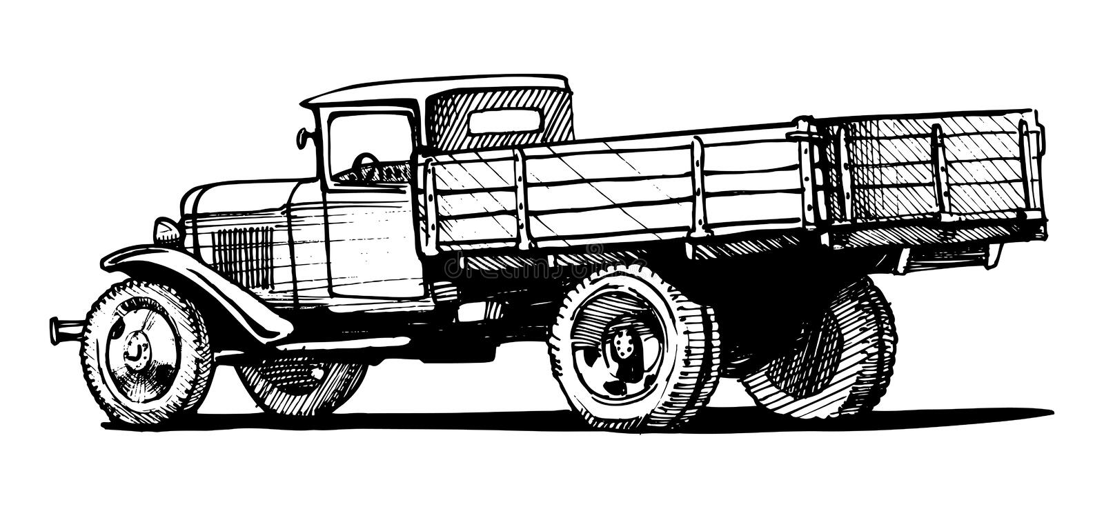 Vintage truck stock vector. Illustration of classic ...
