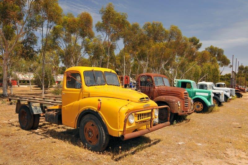 Vintage Trucks in Old Tailem Town Australias största pionieer-by, Tailem Bend, Australien fotografering för bildbyråer
