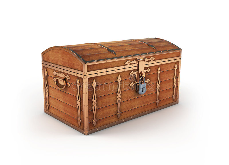 Vintage trunk. 3d render of vintage trunk stock illustration