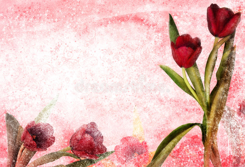 Vintage tulip. Textured background with pinks and whites and tulip flowers. Concept for Valentine day stock photo
