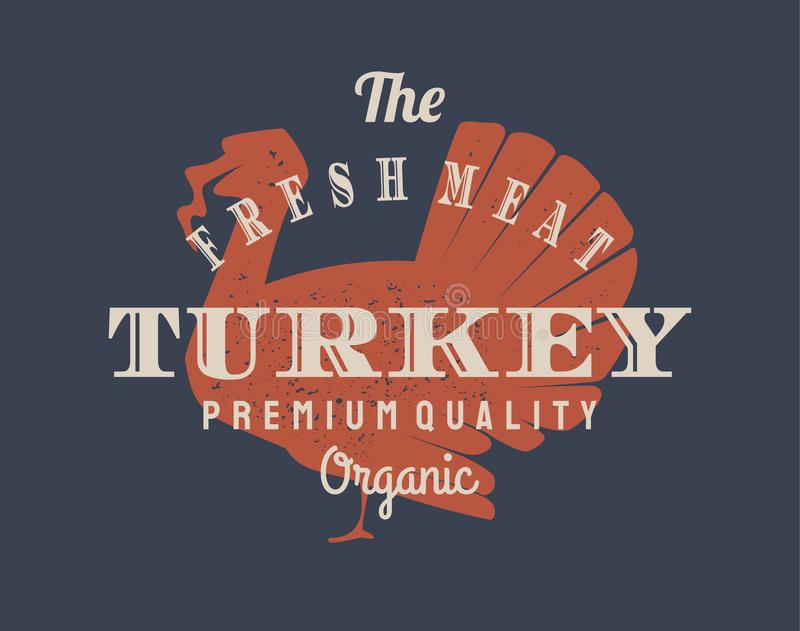 Vintage turkey logo for dairy and meat business, butcher shop, market. Template, stamp, badge, label with cow silhouette stock illustration