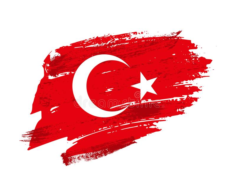 Vintage Turkish flag illustration. Vector Turkish flag on grunge texture. royalty free illustration