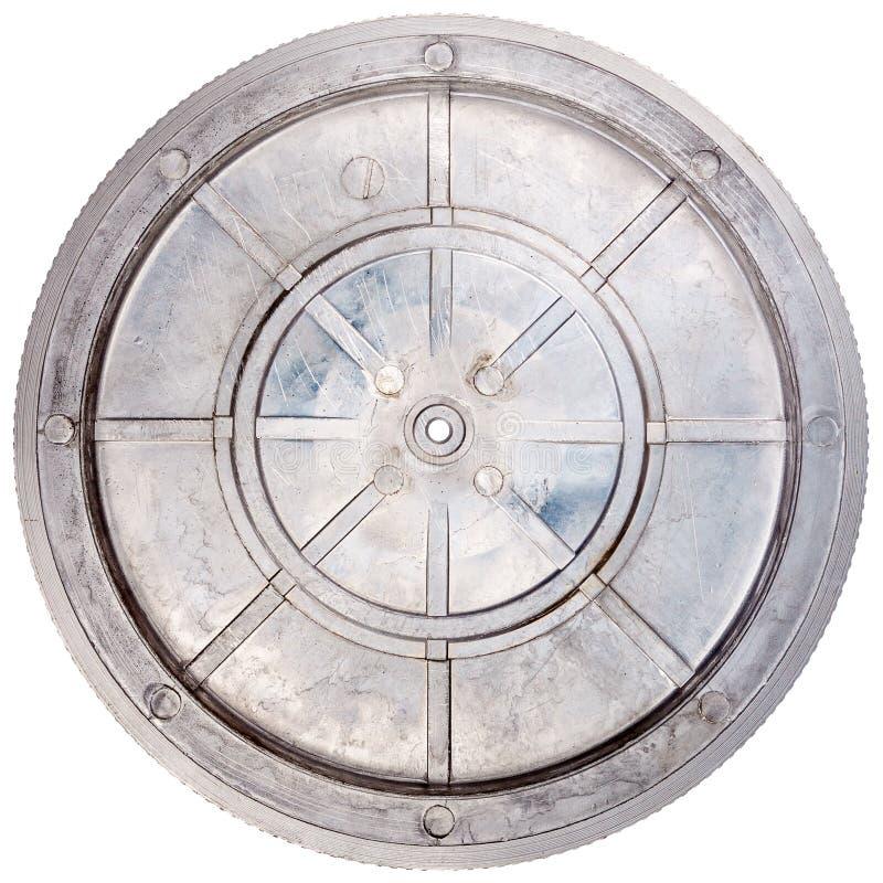 Vintage turntable platter. Bottom isolated on white background stock photography