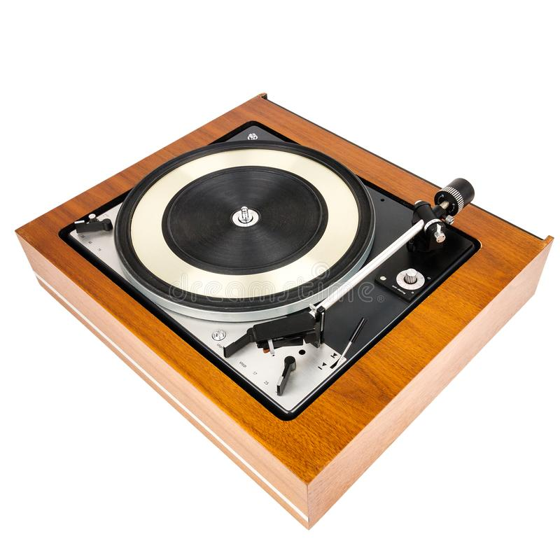 Vintage turntable vinyl record player isolated on white. Wooden plinth. Retro audio equipment royalty free stock photos