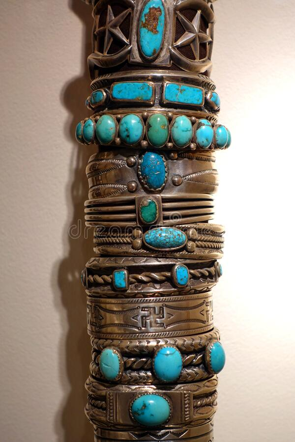 Vintage Turquoise and Silver Bracelets stock photos