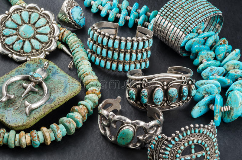 Turquoise and Silver Jewelry. stock images