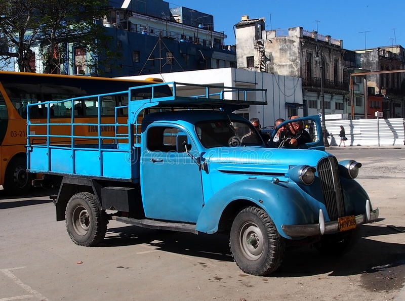 Vintage Turquoise Truck In Havana Cuba Editorial Image
