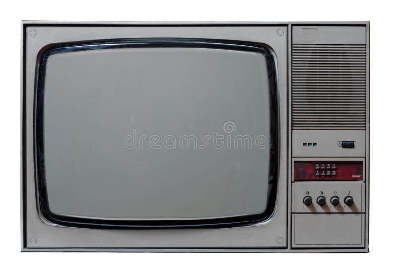 Vintage TV. Vintage analog TV isolated on white royalty free stock image