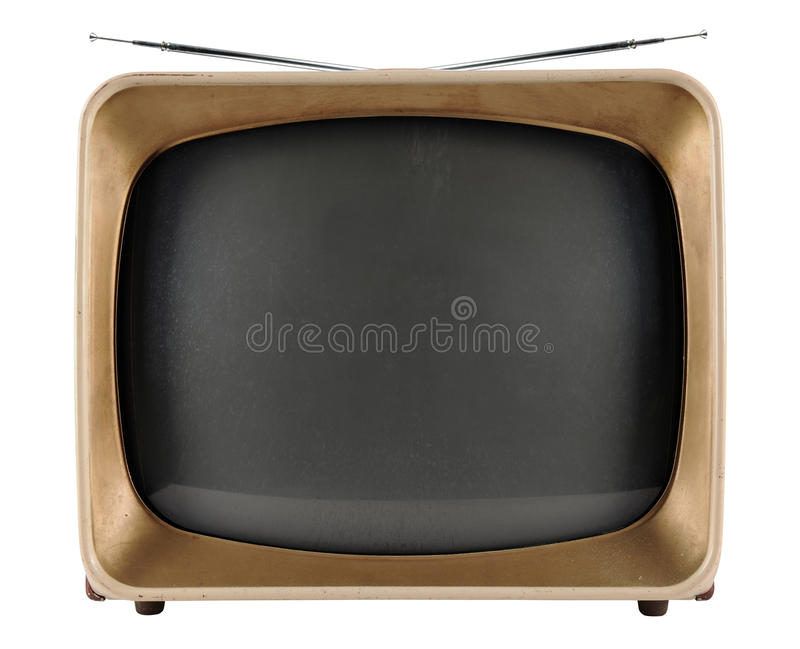Vintage Tv. From the 1950s isolated over white background - With Clipping Path royalty free stock images