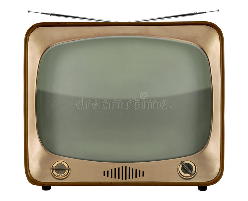 Vintage TV. From the 1950s isolated over white background - With Clipping Path royalty free stock photography