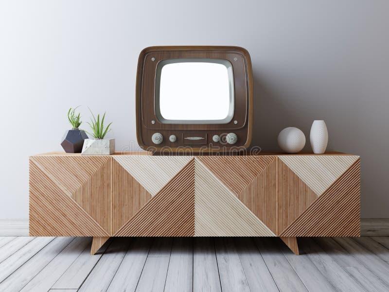 Vintage TV con la pantalla de la maqueta en la medios unidad stock de ilustración