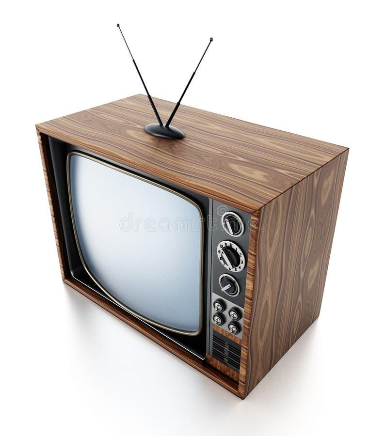 Vintage TV d'isolement sur le fond blanc illustration 3D illustration de vecteur