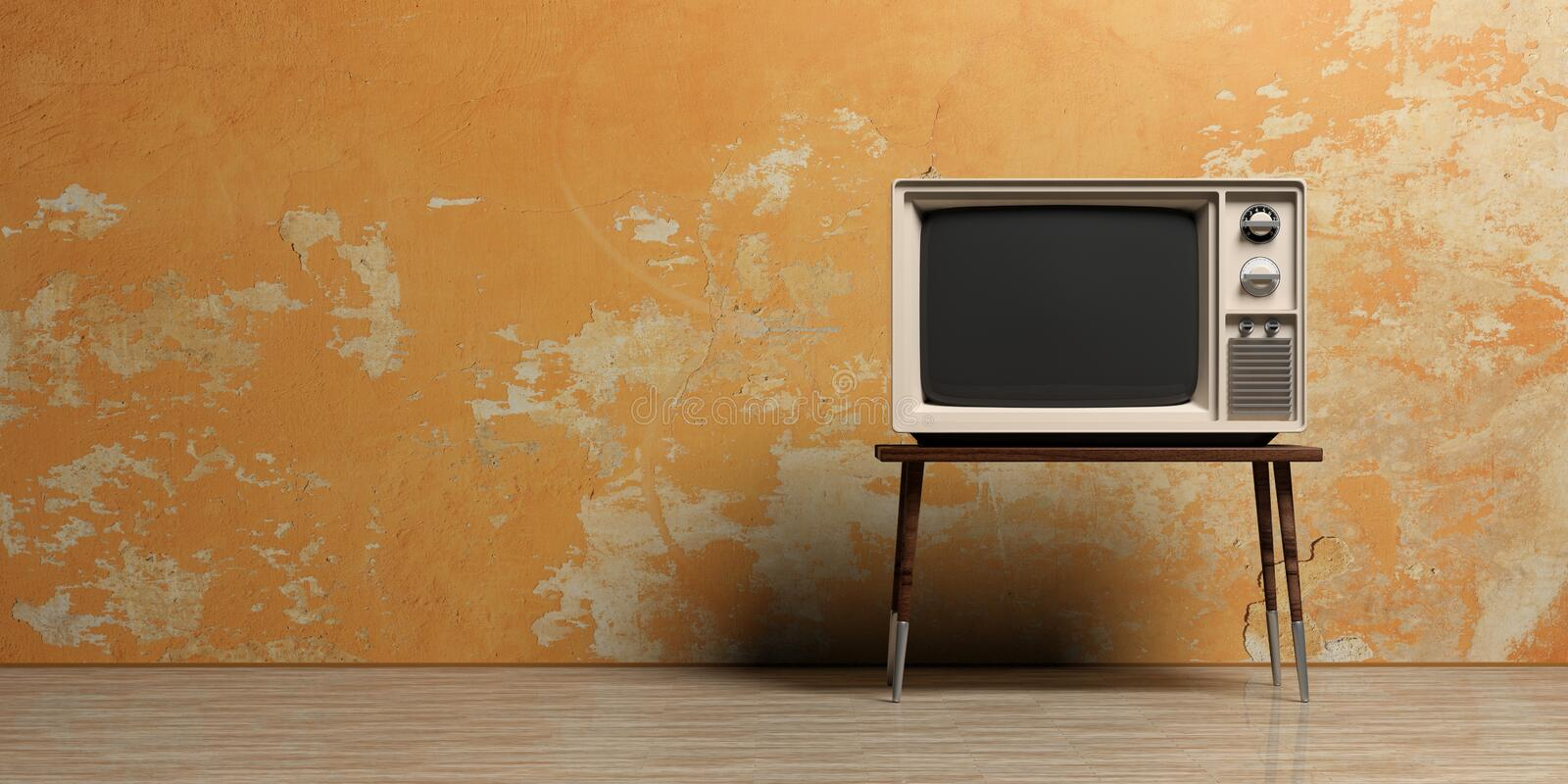 Vintage TV In An Empty Room  3d Illustration Stock