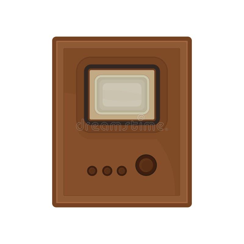 Vintage TV en el fondo blanco Tecnología digital retra stock de ilustración