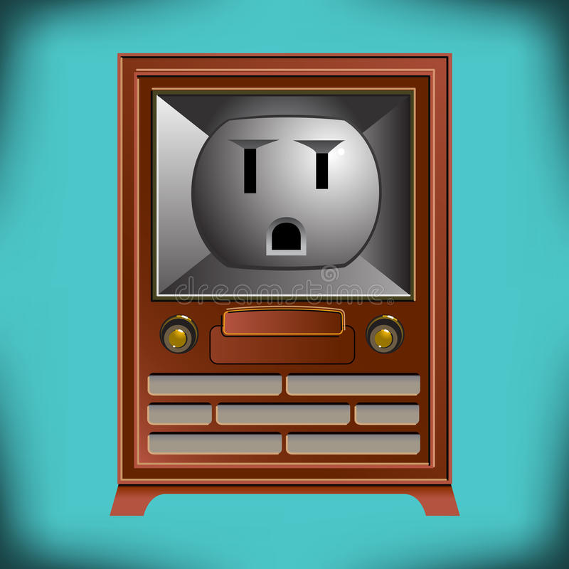 This vintage TV has an electrical outlet face vector illustration