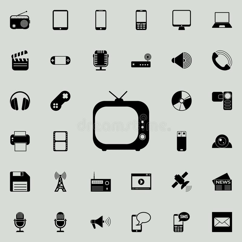 Vintage TV icon. Detailed set of minimalistic icons. Premium graphic design. One of the collection icons for websites, web design,. Mobile app on colored royalty free illustration