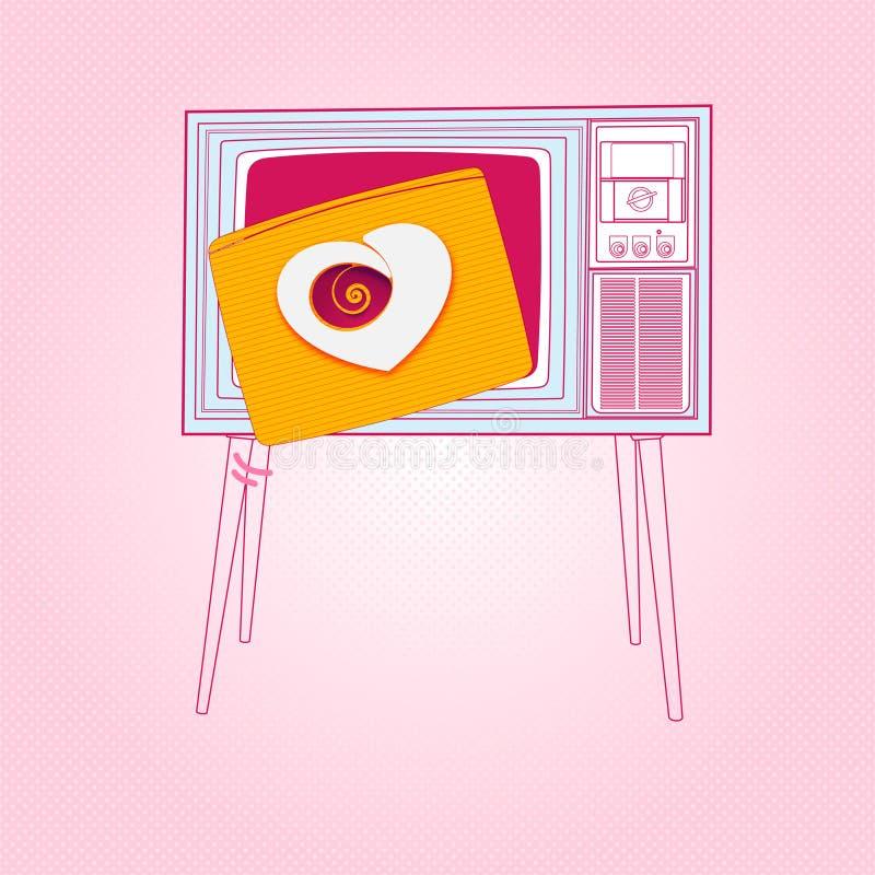 Vintage TV love heart. For your design stock illustration