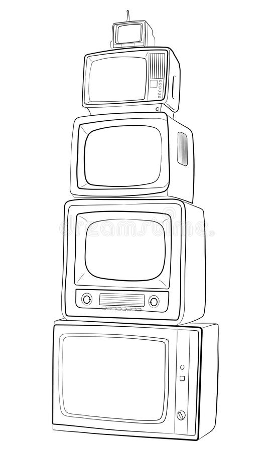 Vintage TV monitor set. retro equipment vector drawing illustration. The vintage TV monitor set. retro equipment vector drawing illustration vector illustration