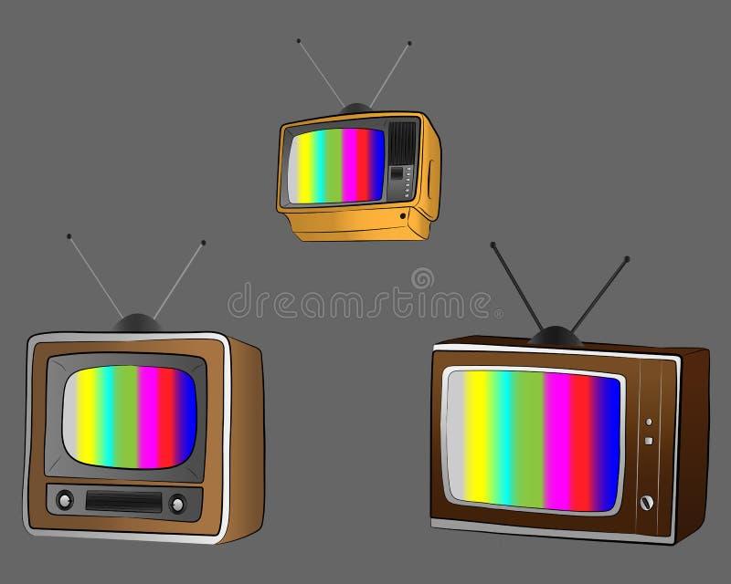 Vintage TV monitor set. retro equipment vector drawing illustration. The vintage TV monitor set. retro equipment vector drawing illustration royalty free illustration