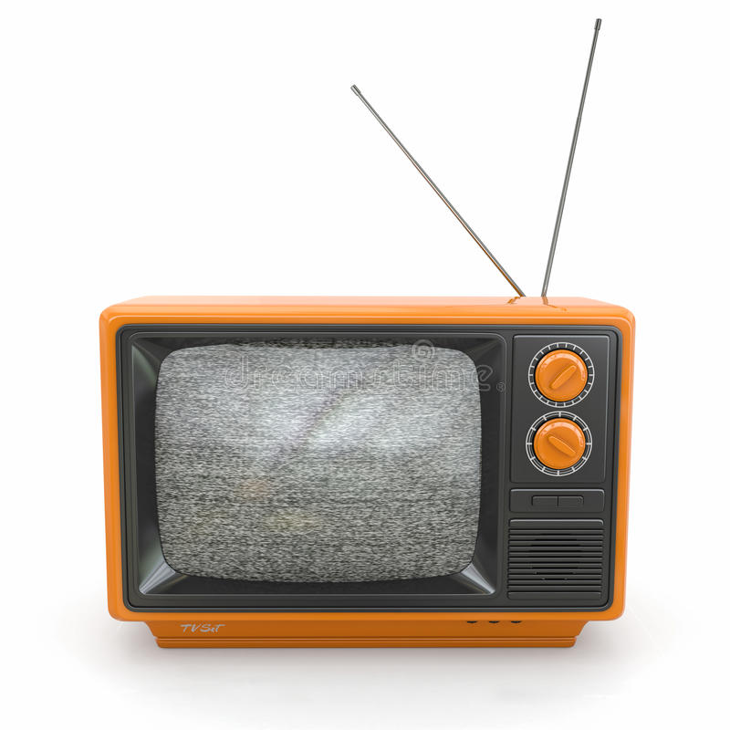 Vintage tv with noise screen. 3d. Vintage tv with noise screen on white background. 3d royalty free illustration