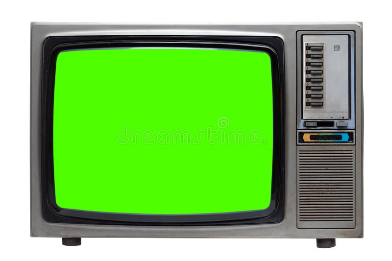 Vintage TV : old retro TV with green screen isolated on white royalty free stock photos