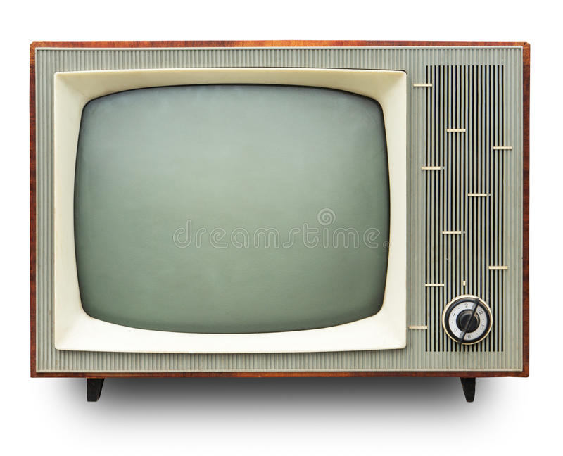 Vintage TV set. Isolated. Clipping path included stock images