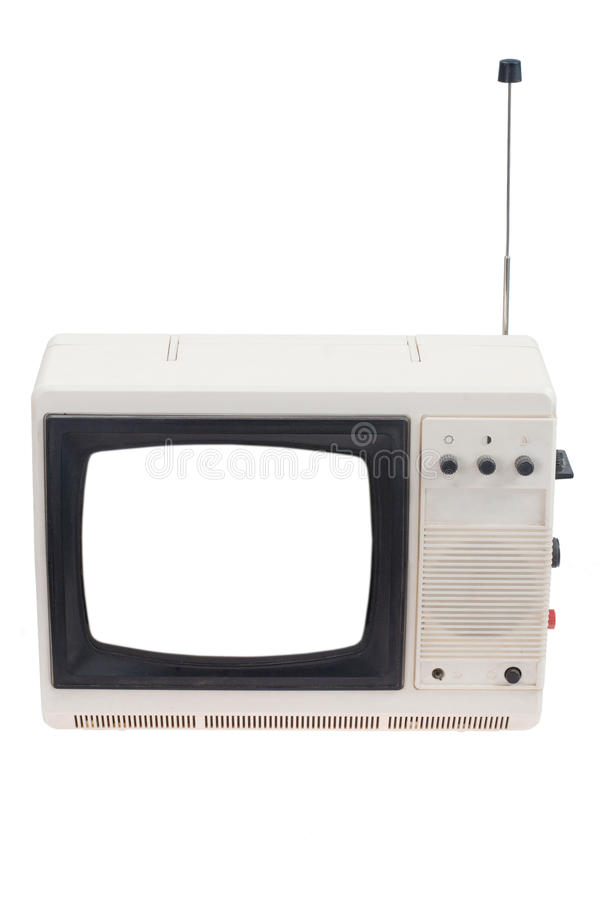 Vintage TV set with blank white screen isolated on white royalty free stock photos