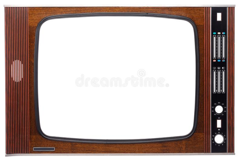 Vintage TV set front with cutout screen and controls isolated on white royalty free stock image