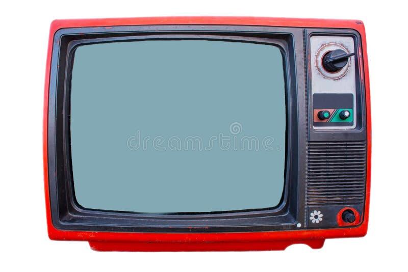 Vintage TV set isolated. On white background stock photo