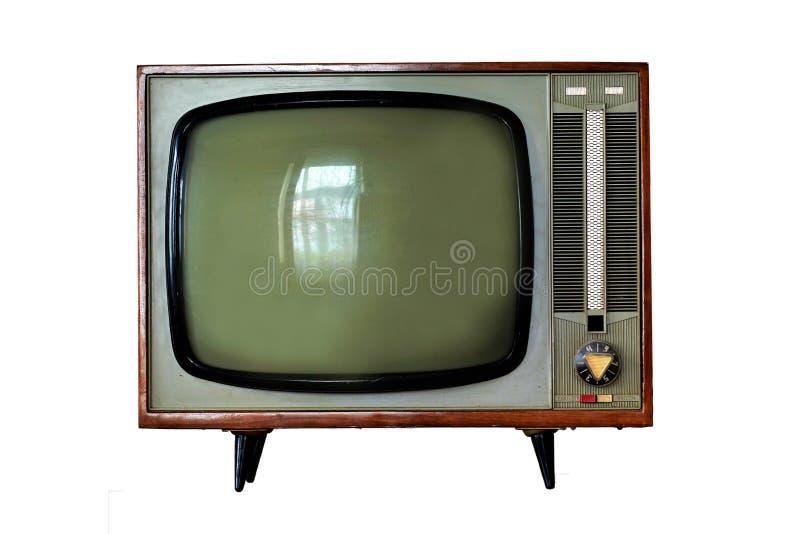 Vintage TV set isolated. On white background stock image