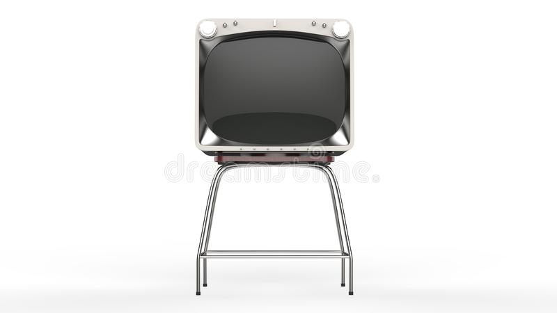 Vintage TV set on a stand - front view. Isolated on white background vector illustration
