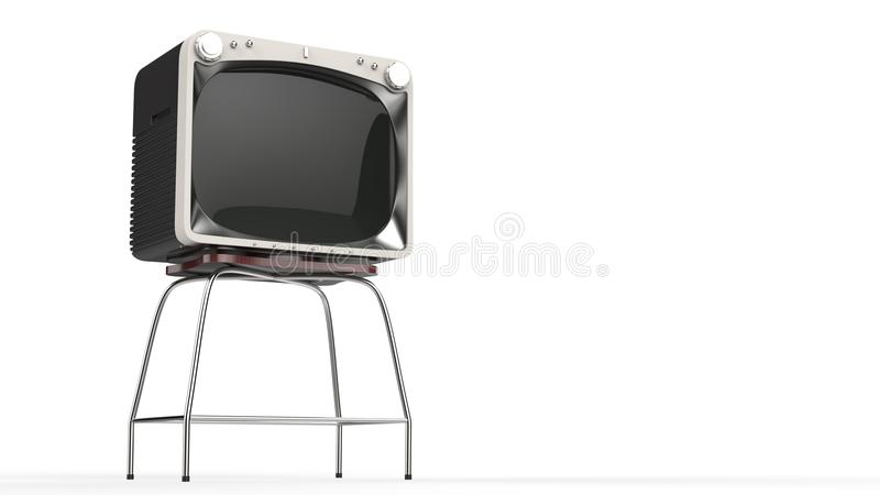 Vintage TV set on a stand. Isolated on white background royalty free illustration