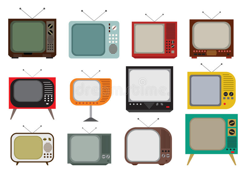 Vintage TV set. Vector illustration of the vintage TV set stock illustration