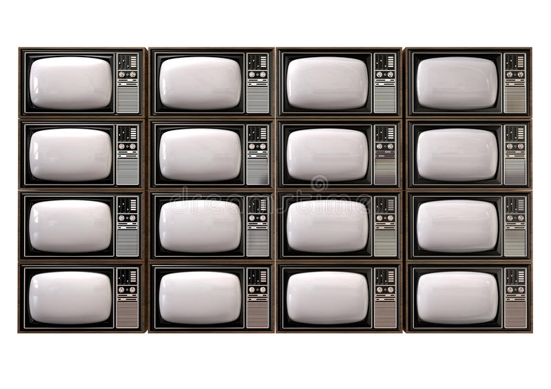 Vintage TV Stack Isolated Front vector illustration