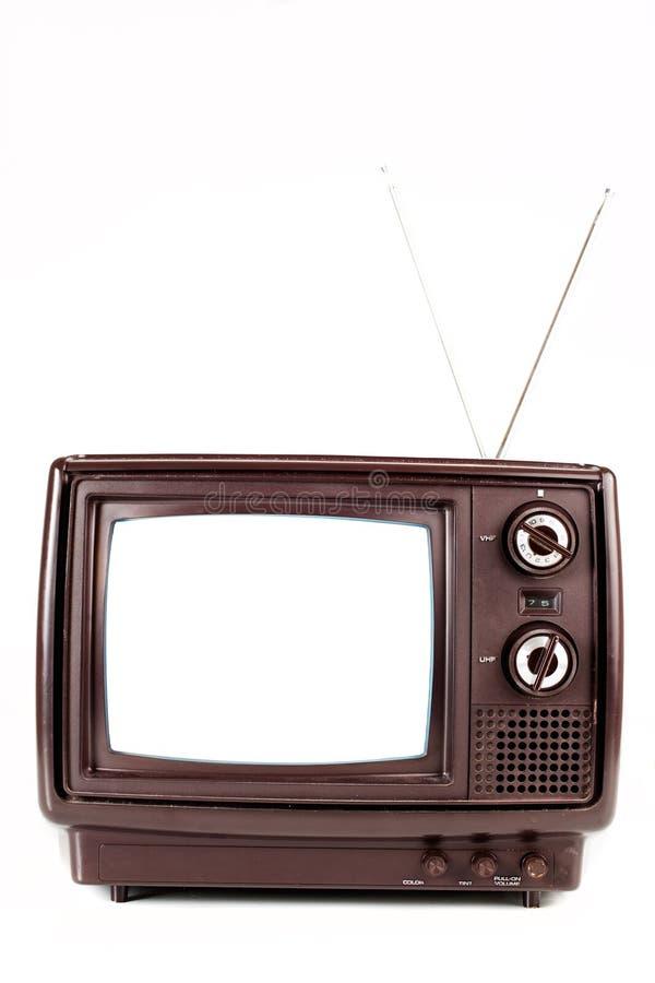 Vintage TV on white stock photos
