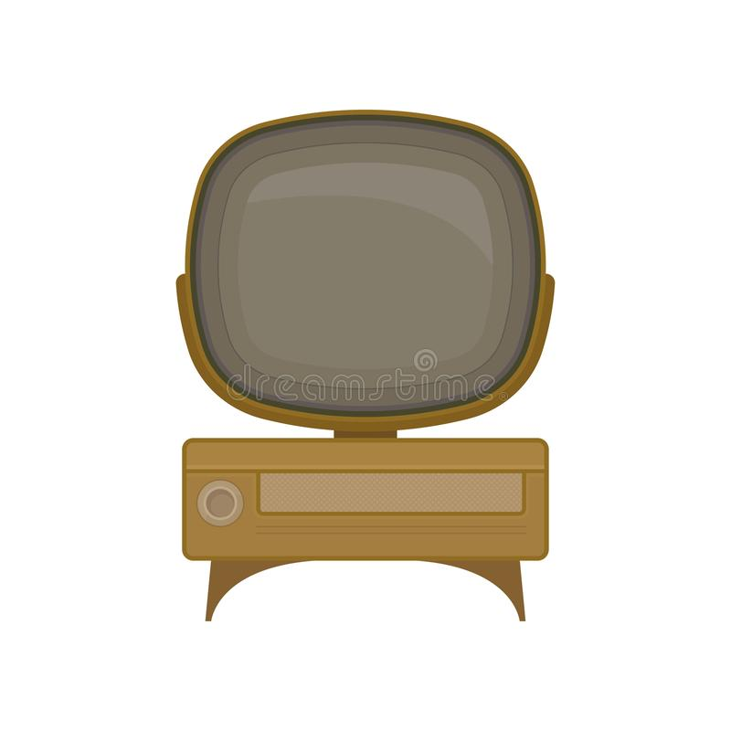 Vintage TV on white background. Retro digital technology. Television and information concept. Vector flat illustration royalty free illustration