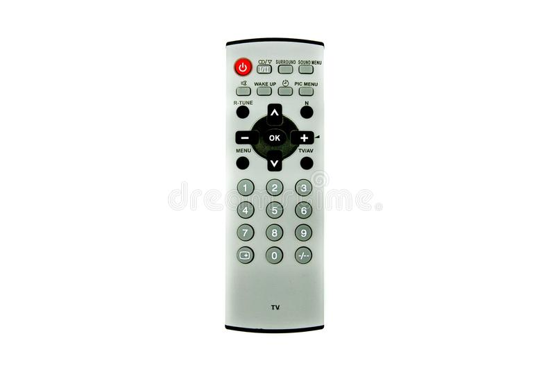 Vintage TVTelevision remoto cinzento para o controle, o volume seleto do canal, o increse e o decrese fotografia de stock