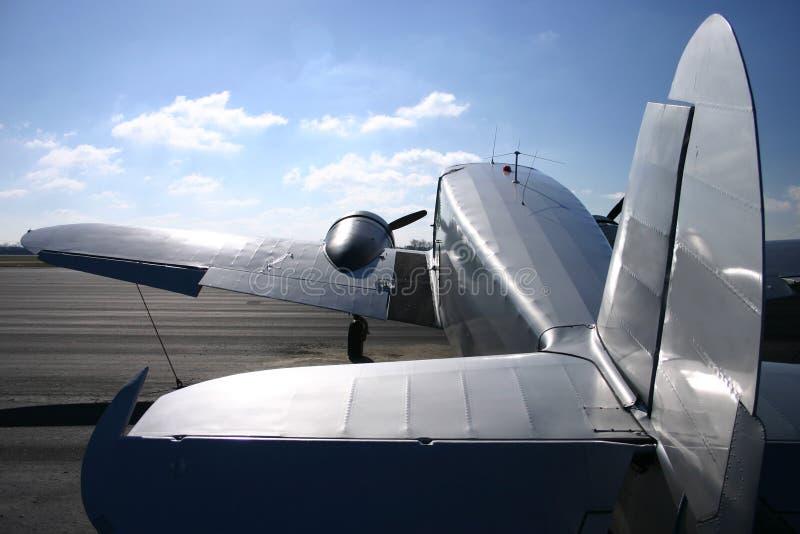 Vintage Twin Engine Airplane stock photos