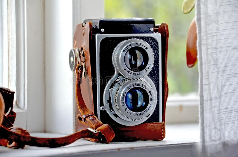 Vintage twin lens reflex camera stock photography