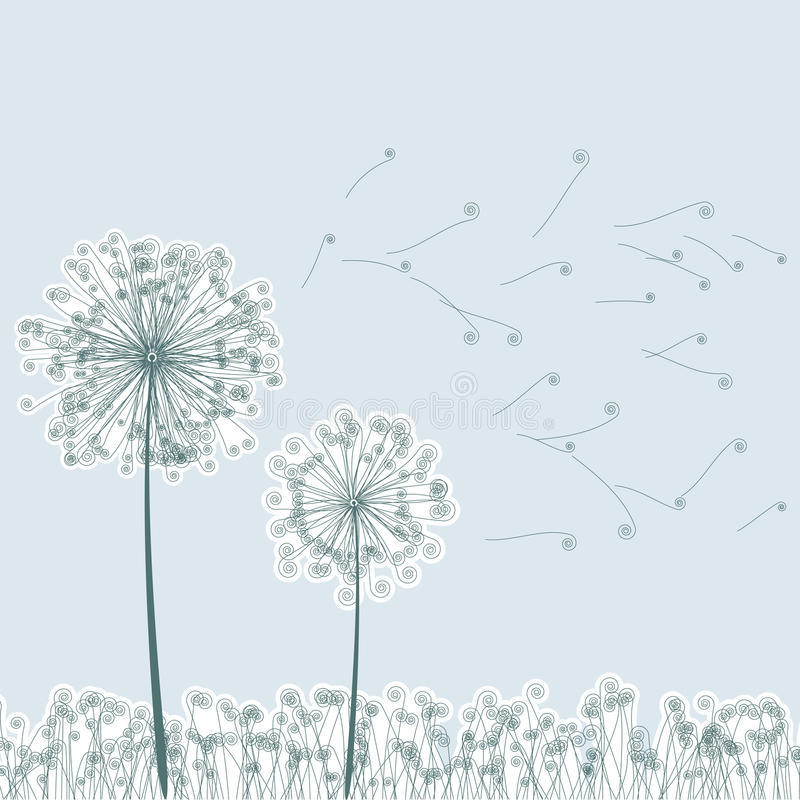 Free Vintage Two Dandelions In Wind. EPS8 Royalty Free Stock Images - 19730349