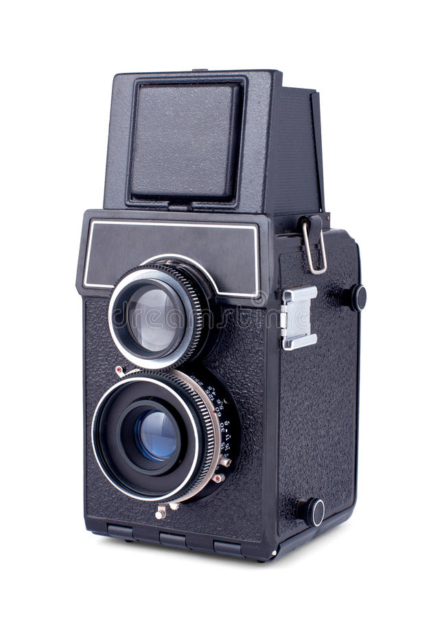 Vintage two lens photo camera isolated stock photo