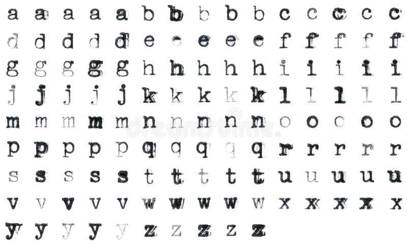 Vintage typed alphabet stock photo